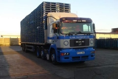 Clark Transport Ltd MAN Articulated truck loaded with pallets
