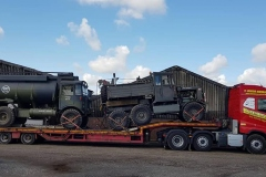 Hutchinson Engineering Services Volvo FH with low loader carrying 2 military vehicles
