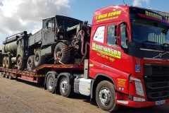 Hutchinson Engineering Services Volvo FH with low loader carrying military vehicles