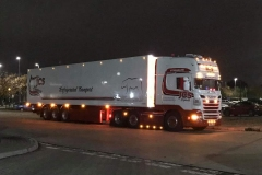 JCS Express refrigerated transport Scania with tri axel trailer