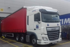 Palletline DAF XF with tri-axel curtainsider trailer