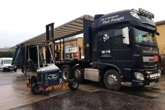 Time Critical Solutions UK and European Fast Freight DAF with curtainsider Trailer and Moffett