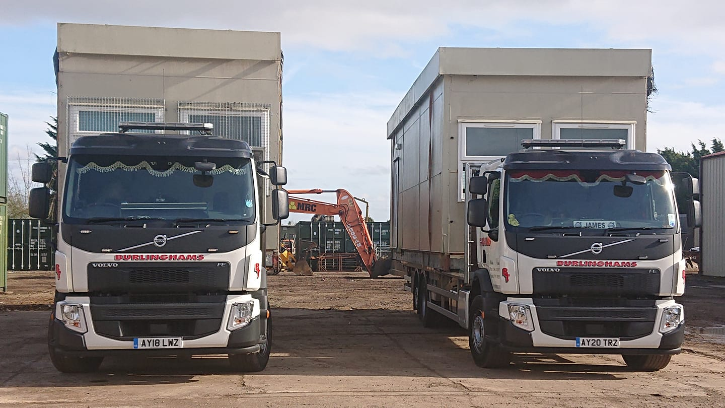 Burlinghams Volvo FE Trucks flatbed HGV loaded with office units