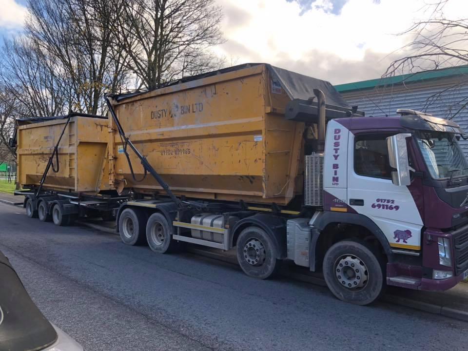 Dusty Bin Ltd Volvo Skip wagon and drag Lorry
