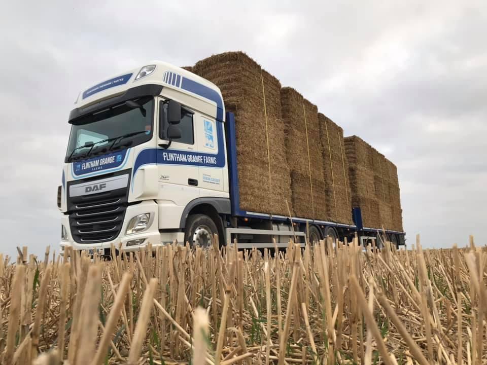 Flintham Grange Farms DAF XF Wagon and drag loaded with hay bales
