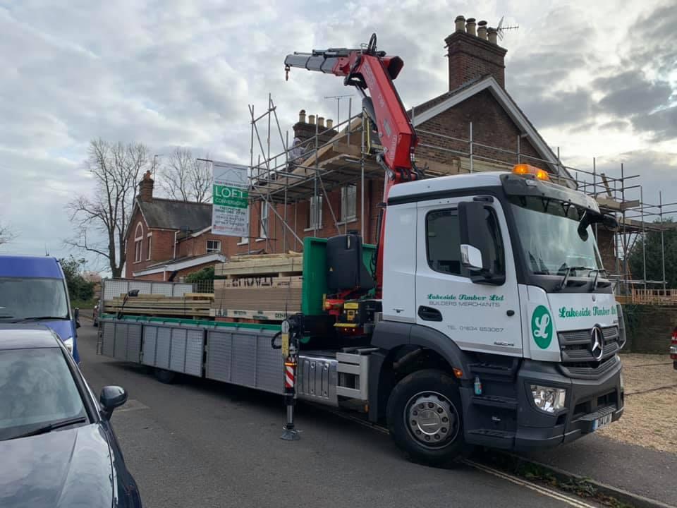 Lakeside Timber Ltd Builders  Merchants Mercedes Dropside Crane Lorry