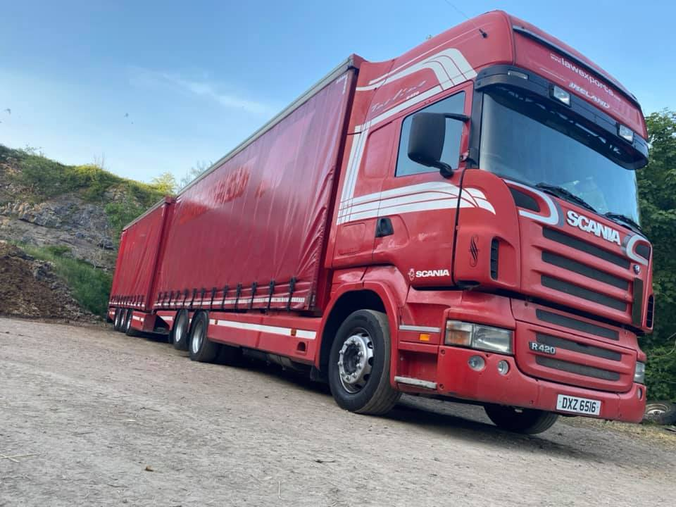 Low Exports Ireland Scania R420 Rigid curtainsider with trailer