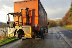 Scania Rigid Curtainsider Truck with rear mounted Moffett