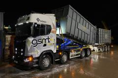 Goldstar Metal Traders Scania S650XT V8 rigid skip lorry with trailer