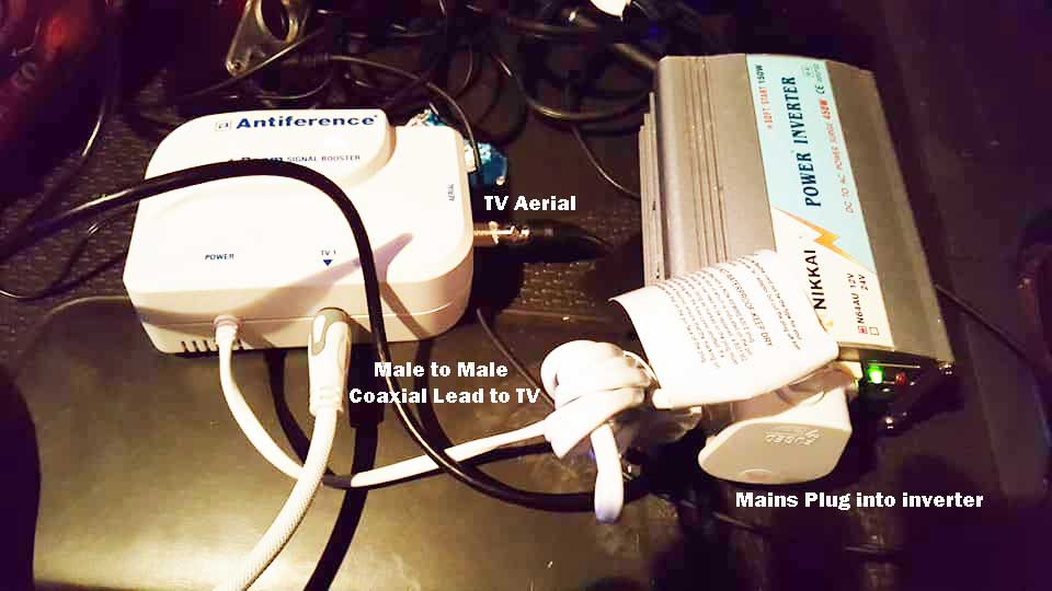 Antiference tv booster to inverter truck tv poor signal solution