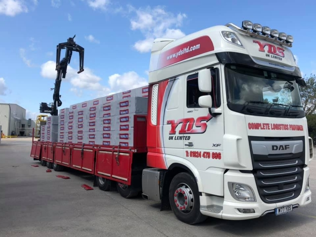 YDS UK Limited DAF XF with flatbed trailer and Grab