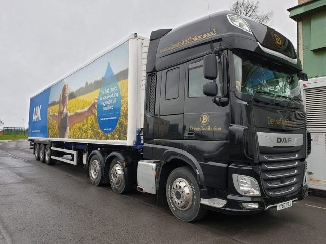 Dennis Distribution DAF truck with refrigerated trailer