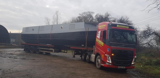 Hutchinson Engineering Services Volvo FH Low loader trailer with canal barge on trailer