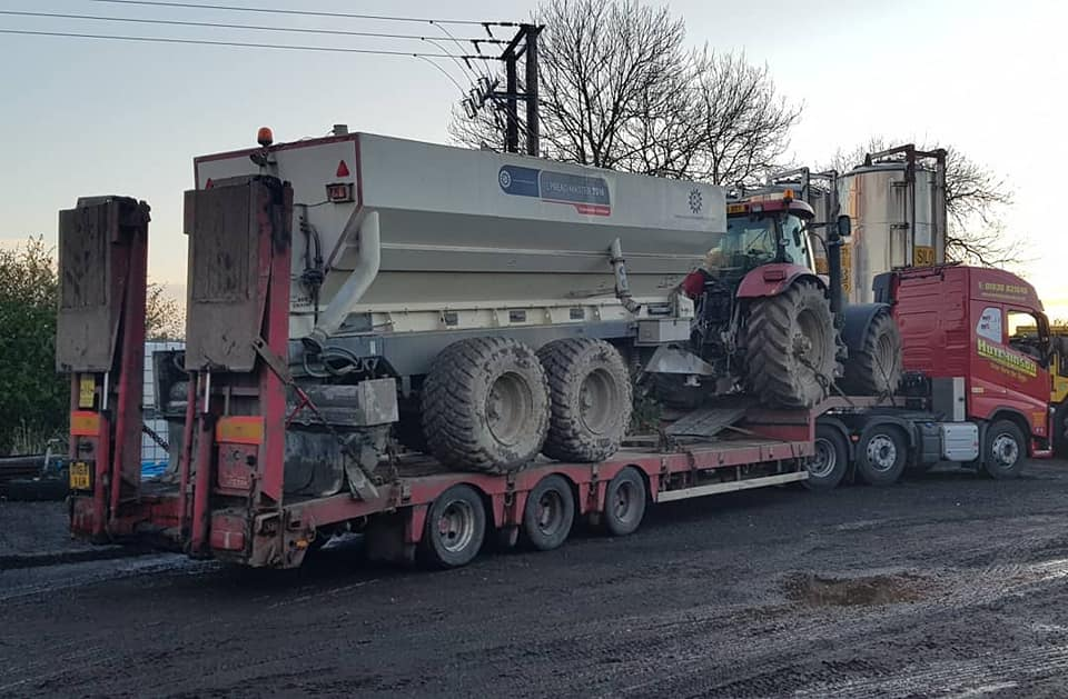 Hutchinson Engineering Services Volvo FH loaded with agricultural tractor and trailer