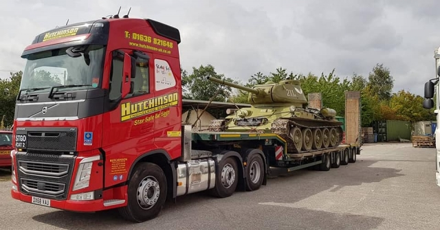 Hutchinson Engineering Services Volvo FH with low loader loaded with Army Tank