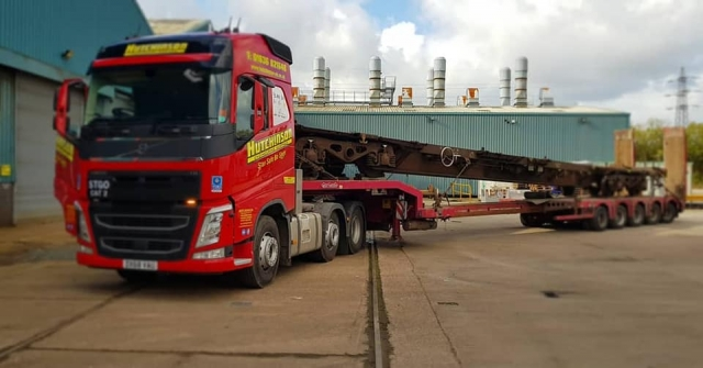 Hutchinson Volvo FH with Train Chassis on heavy haulage trailer