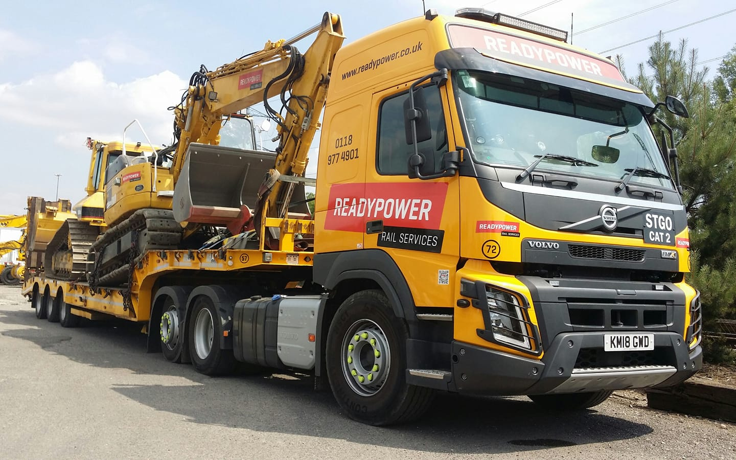 Readypower Rail Services Volvo FMX with Low Loader and Machines on Back