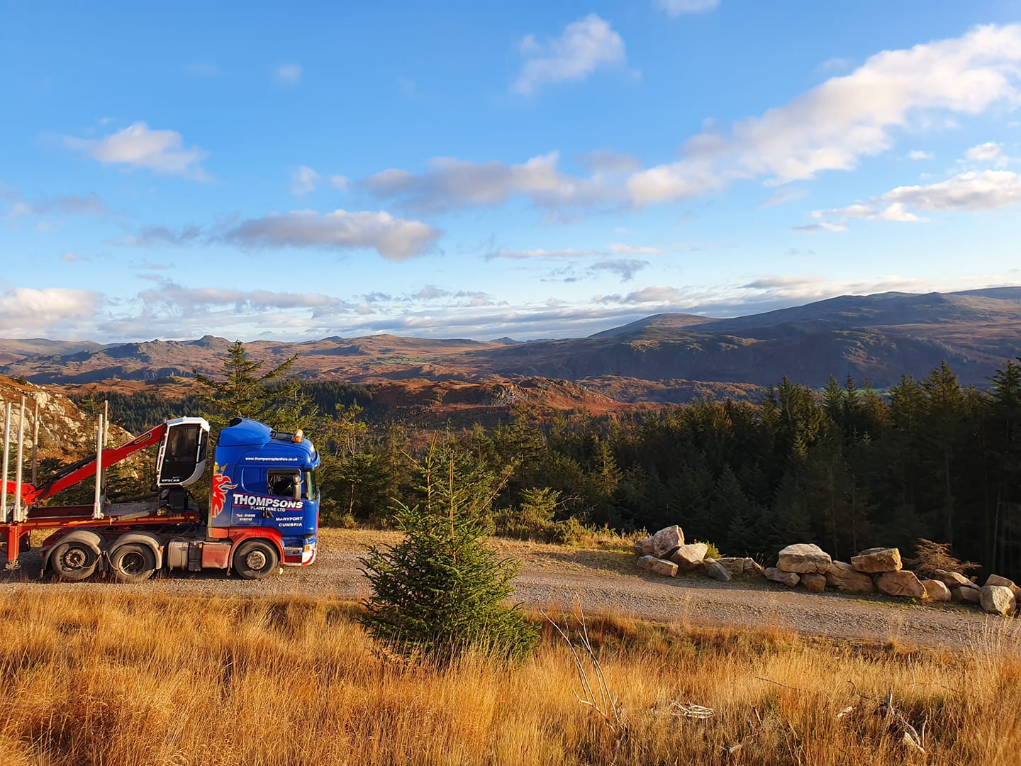 Thompsons Sania with Timber trailer with scenic view