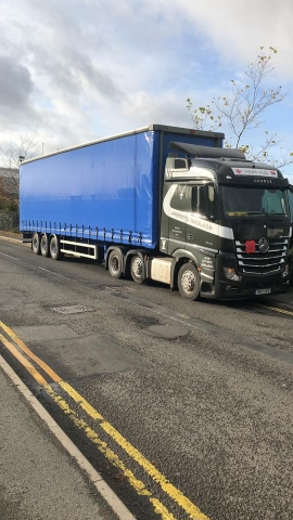 Woodys Haulage Mercedes Truck with Curtainsider Trailer