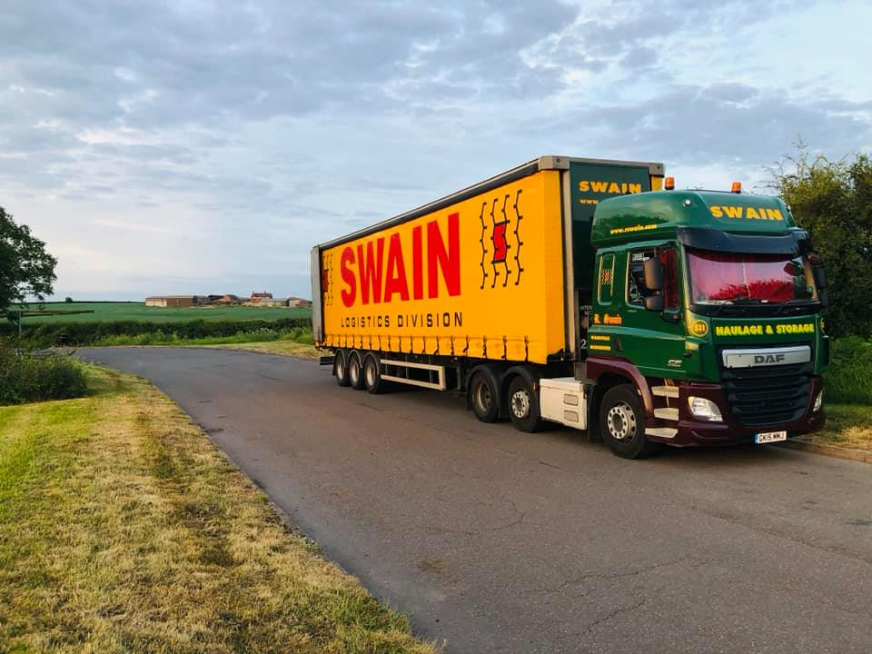 Swain Haulage and Storage DAF CF with Curtainsider Trailer